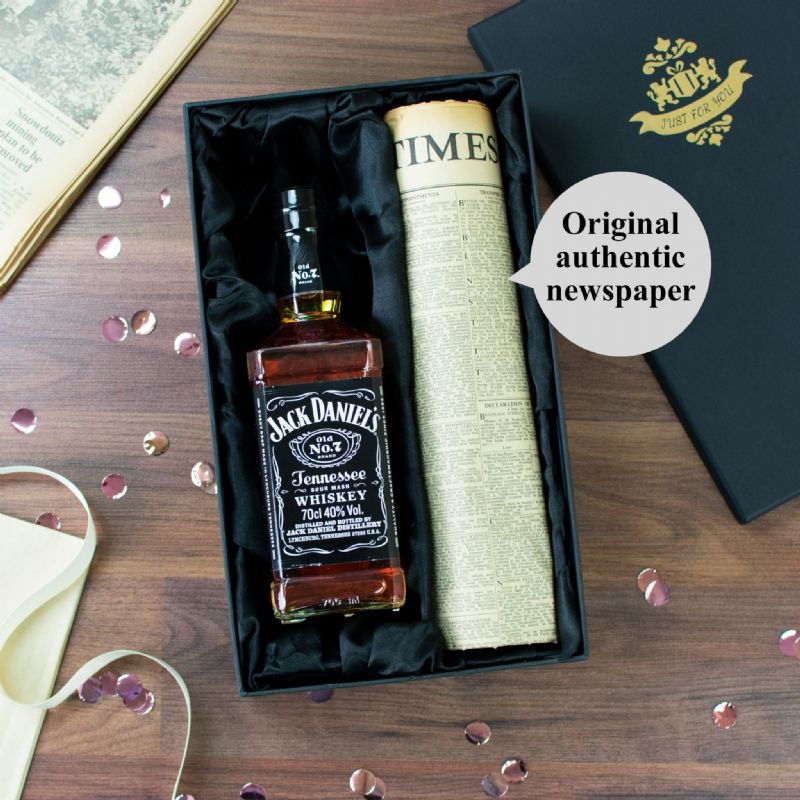 Jack Daniel's Whiskey and Newspaper Gift Set | Perfect Gift for a loved one